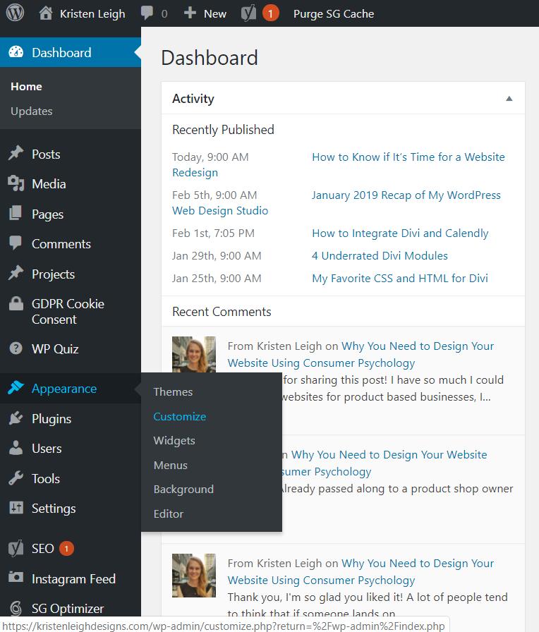 Kristen Leigh | Web Design Studio | How to Quickly Build a Divi Website | Appearance Customize Menu