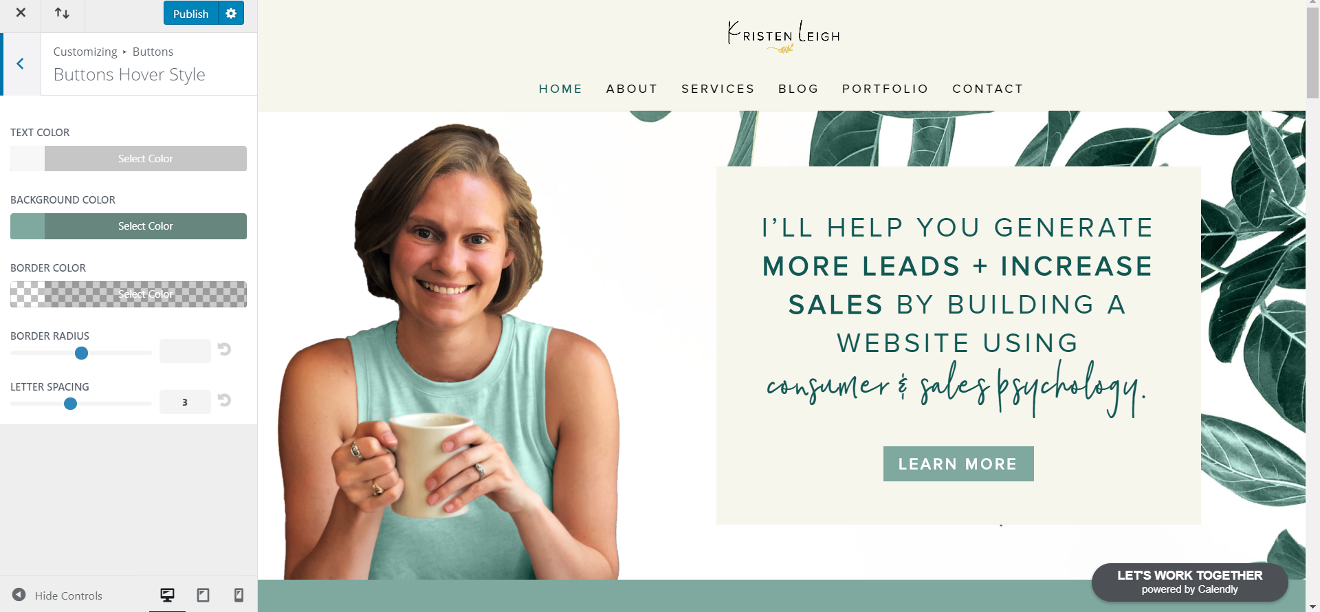 Kristen Leigh | Web Design Studio | How to Quickly Build a Divi Website | Button Hover Style