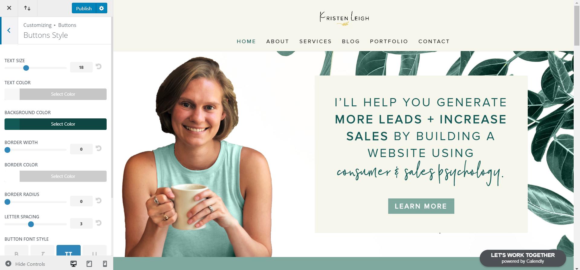 Kristen Leigh | Web Design Studio | How to Quickly Build a Divi Website | Button Styles