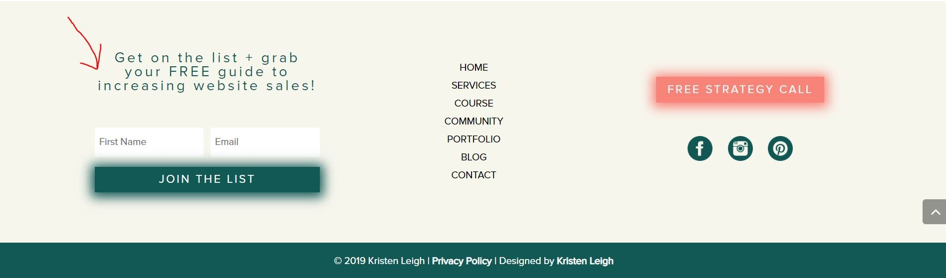 Kristen Leigh Designs | WordPress Web Design Studio | Best Places to Add Email Opt In Form on Your Website | Button in Footer Example