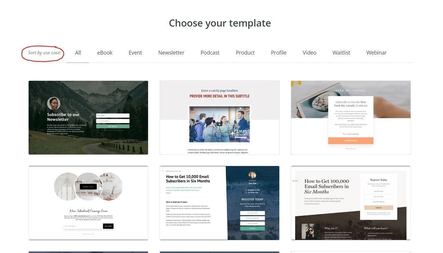Kristen Leigh | WordPress Web Design Studio | ConvertKit Landing Page Step 3 Select a Template