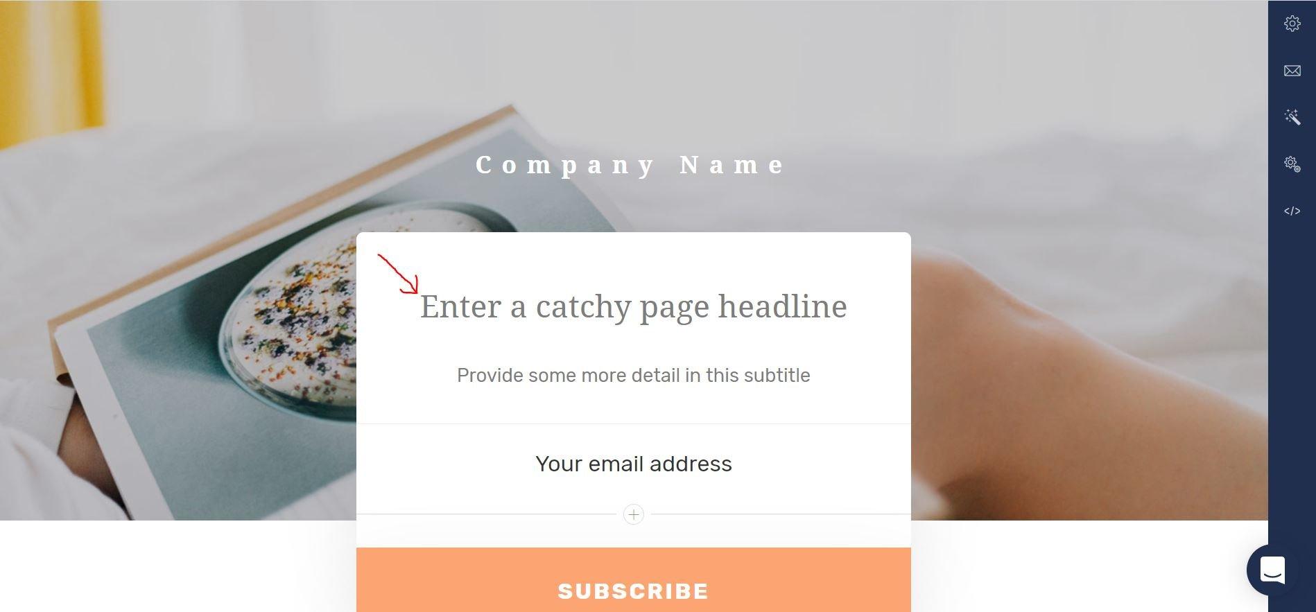Kristen Leigh | WordPress Web Design Studio | ConvertKit Landing Page Step 4 Edit Branding and Copy