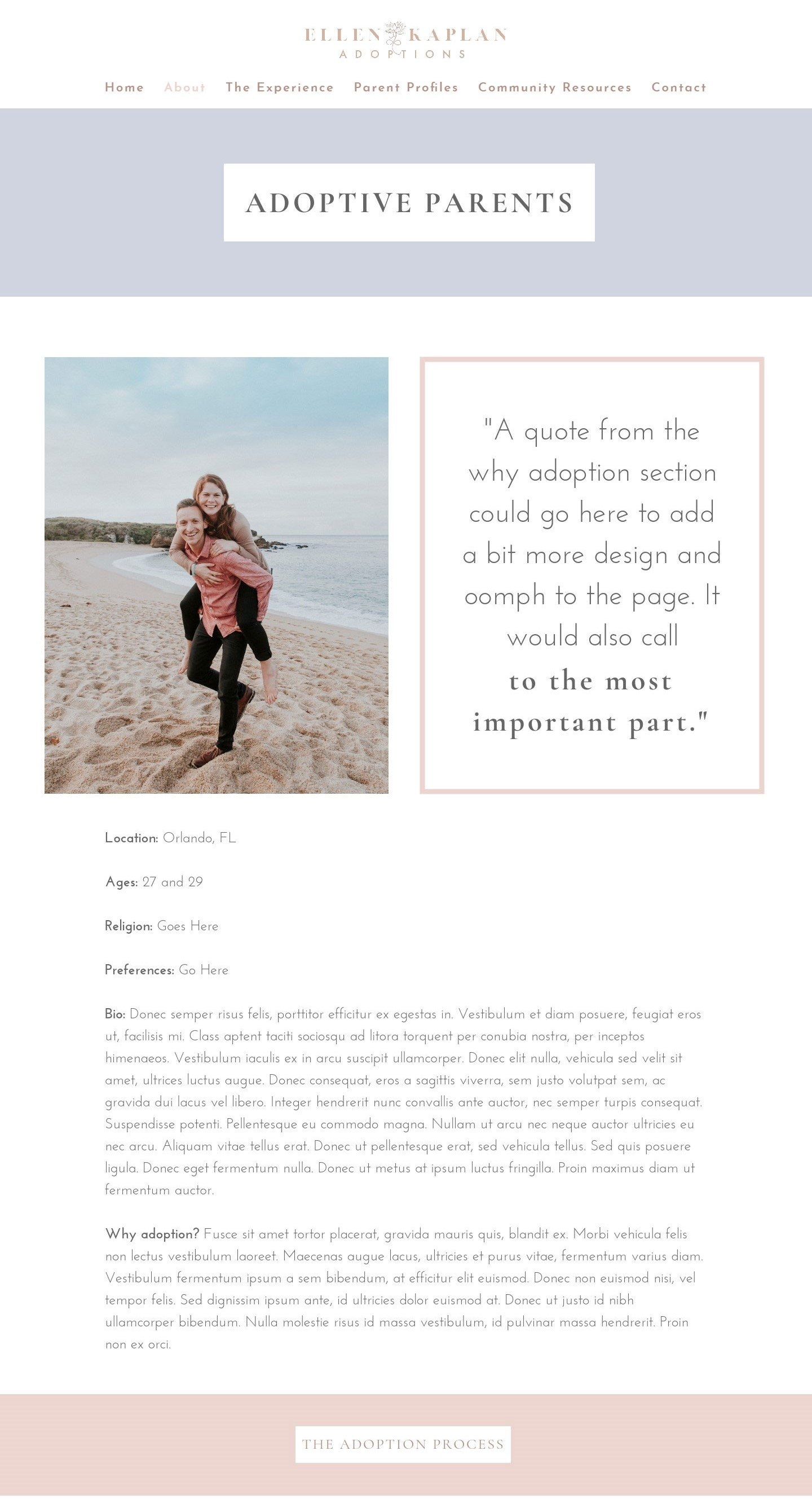 Kristen Leigh | WordPress Web Design Studio | Ellen Kaplan Adoptions Portfolio Piece | Parent Profiles Page