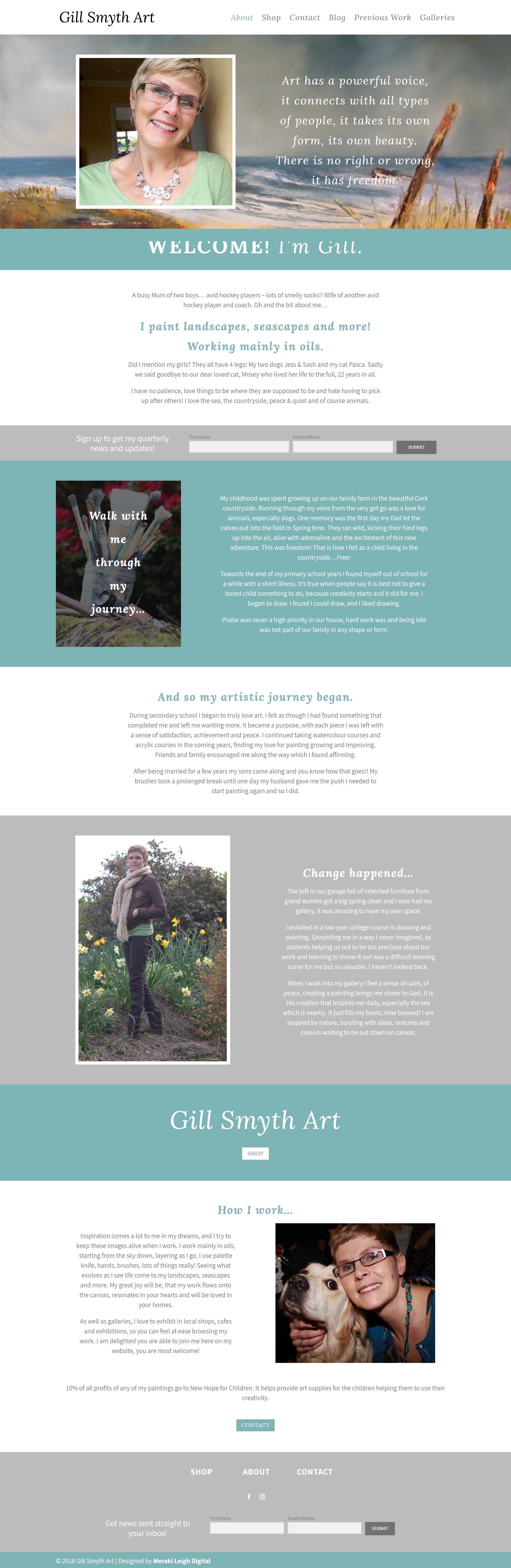 Kristen Leigh | WordPress Web Design Studio | Gill Smyth Art Portfolio Piece | About Page