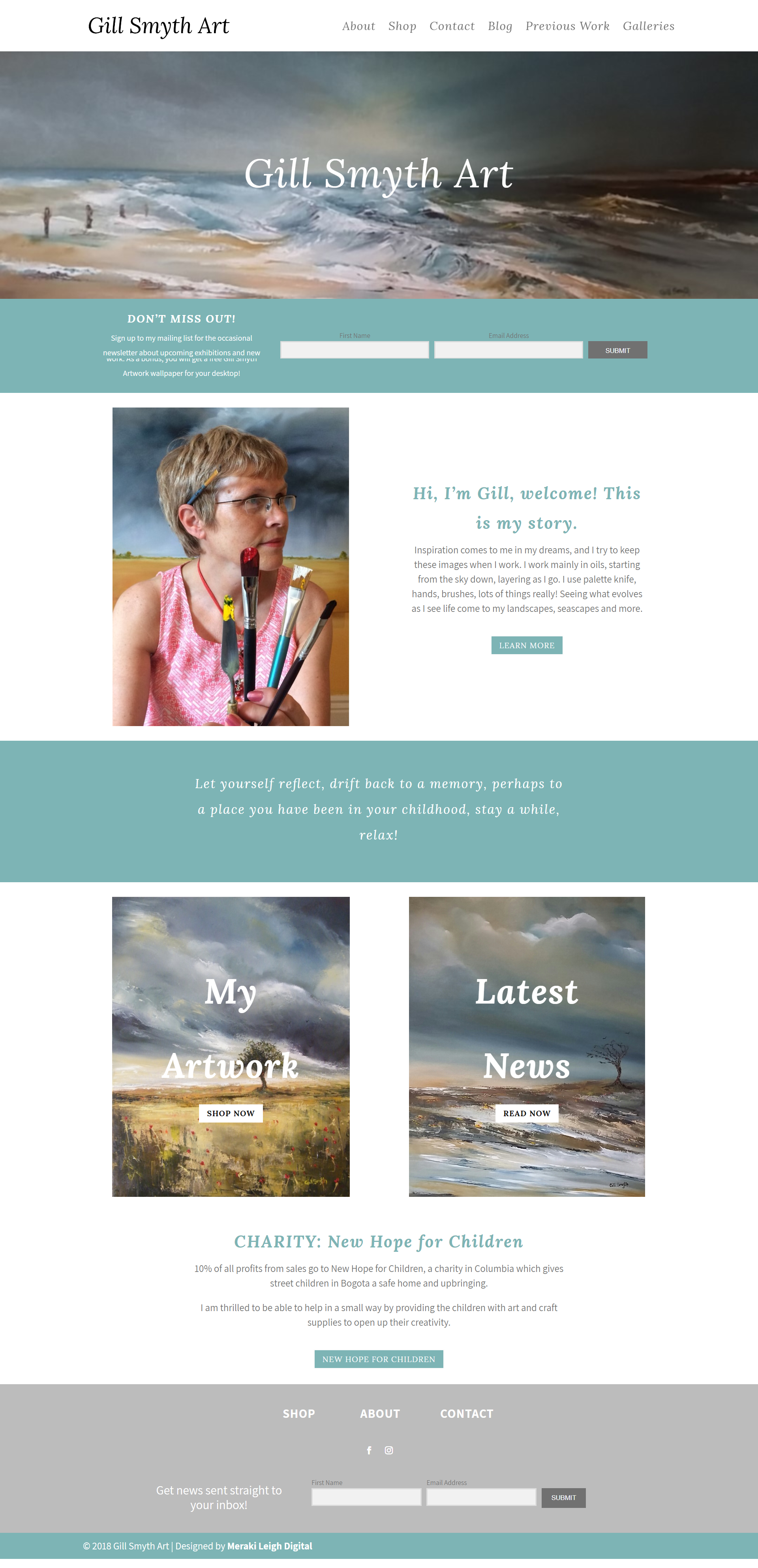 Kristen Leigh | WordPress Web Design Studio | Gill Smyth Art Portfolio Piece | Home Page