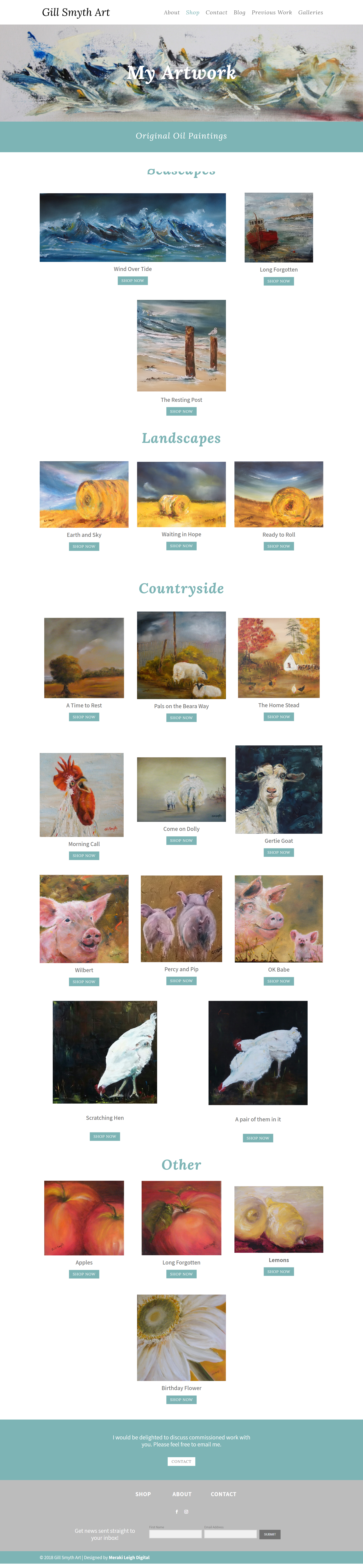 Kristen Leigh | WordPress Web Design Studio | Gill Smyth Art Portfolio Piece | Shop Page