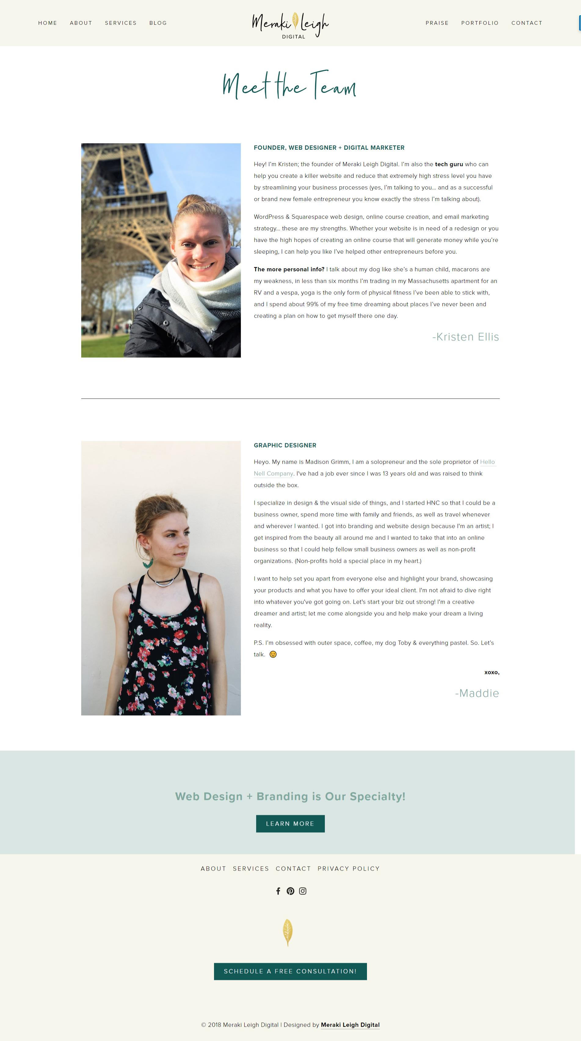 Kristen Leigh | WordPress Web Design Studio | Meraki Leigh Digital Portfolio Piece | About Page