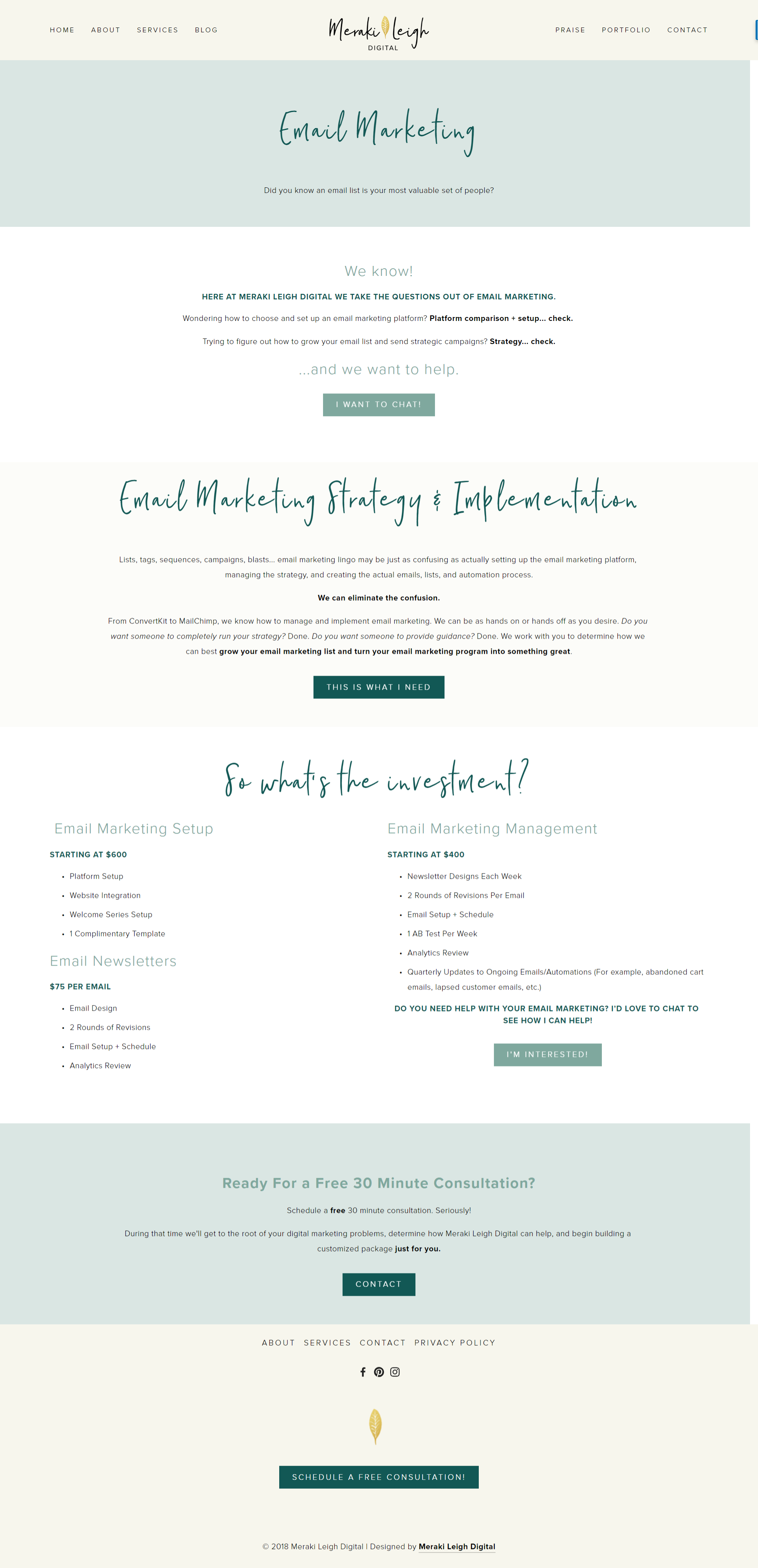 Kristen Leigh   WordPress Web Design Studio   Meraki Leigh Digital Portfolio Piece   Email Marketing Page