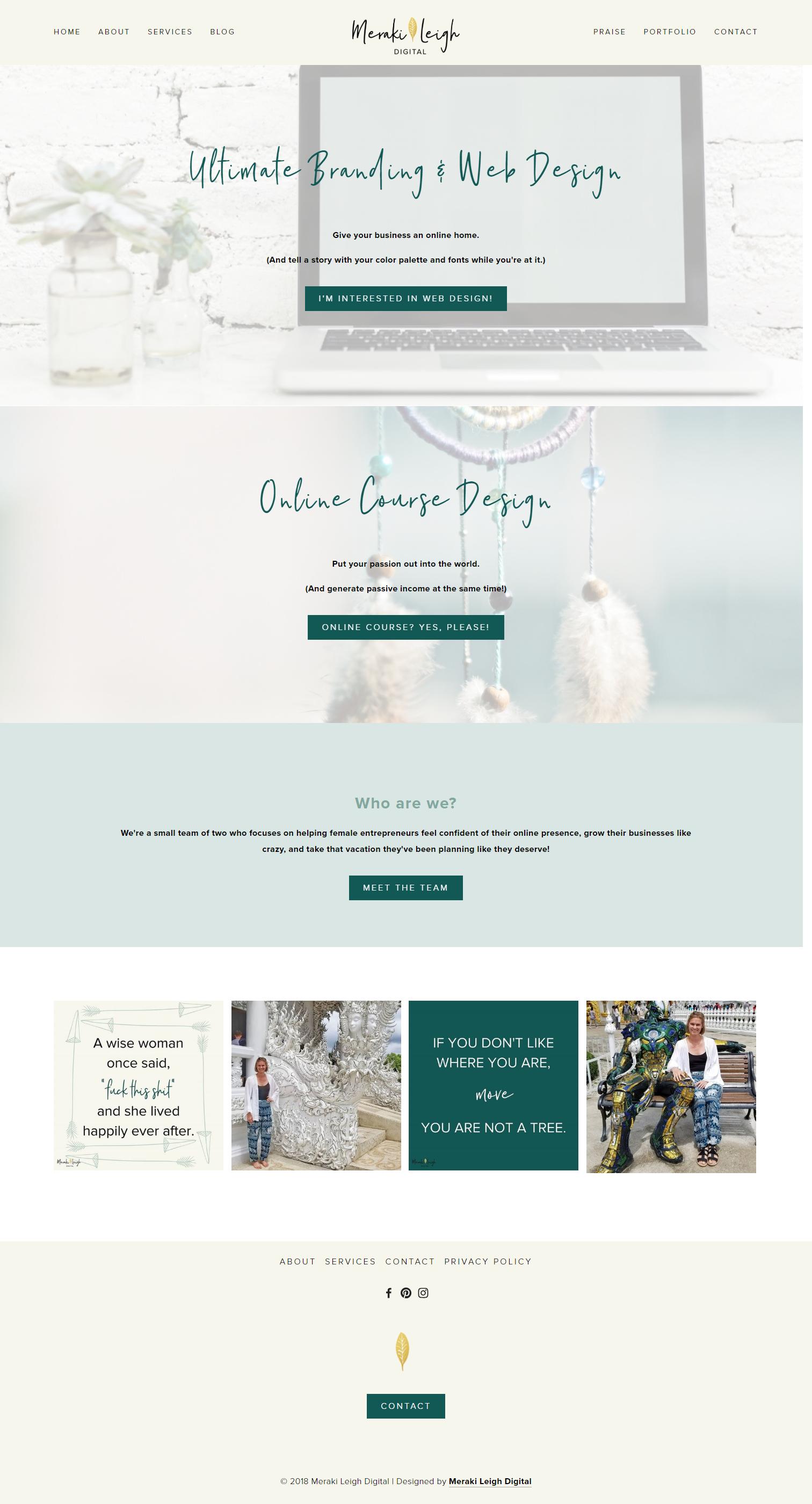 Kristen Leigh | WordPress Web Design Studio | Meraki Leigh Digital Portfolio Piece | Home Page