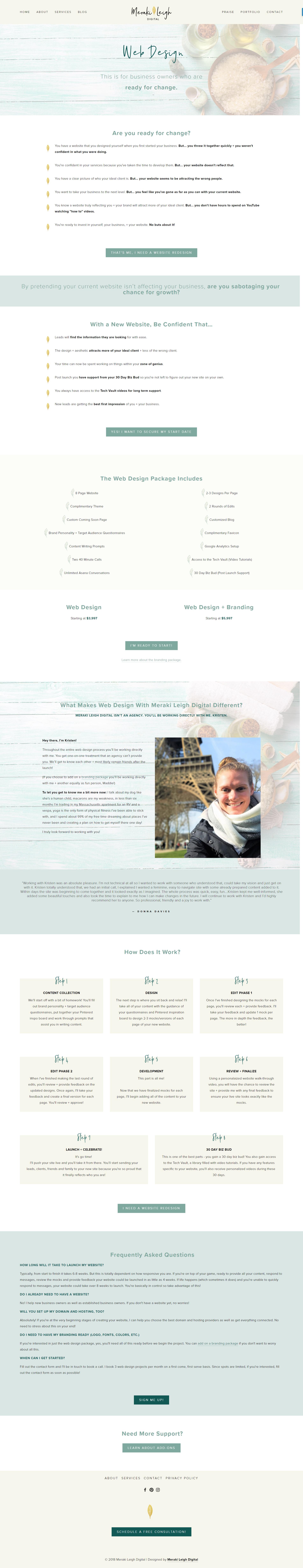 Kristen Leigh | WordPress Web Design Studio | Meraki Leigh Digital Portfolio Piece | Web Design Page