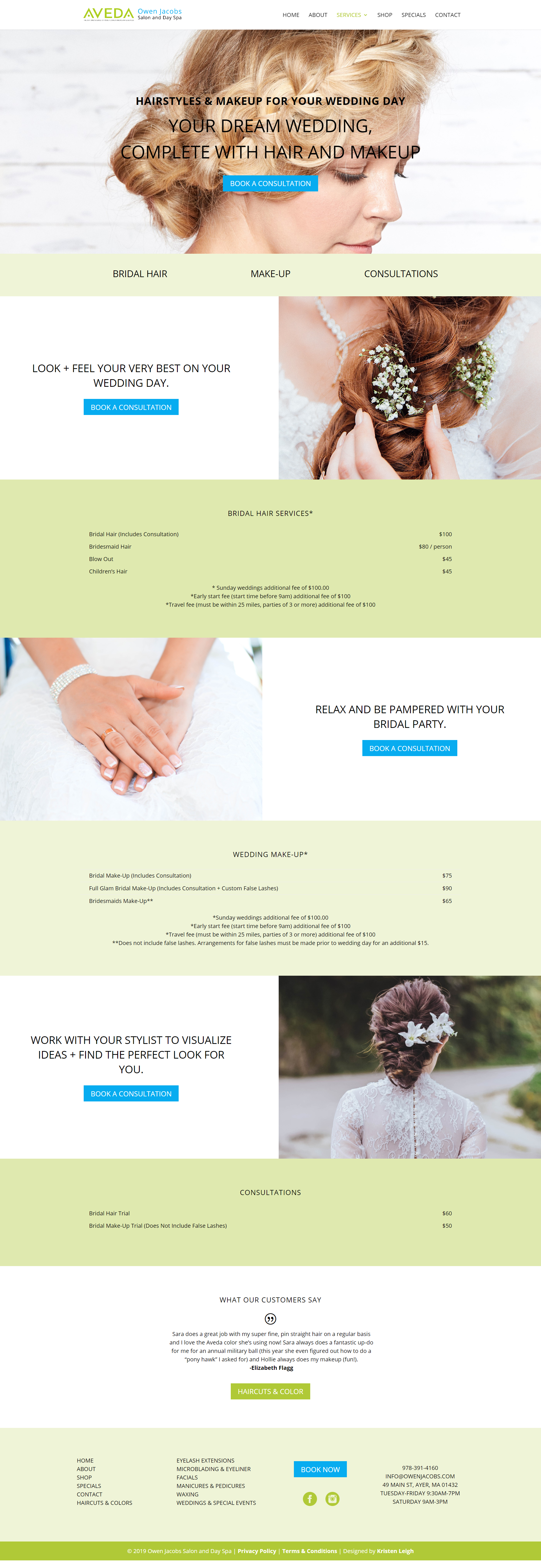 Kristen Leigh | WordPress Web Design Studio | Owen Jacobs Salon and Day Spa Portfolio Piece | Weddings and Special Occasions