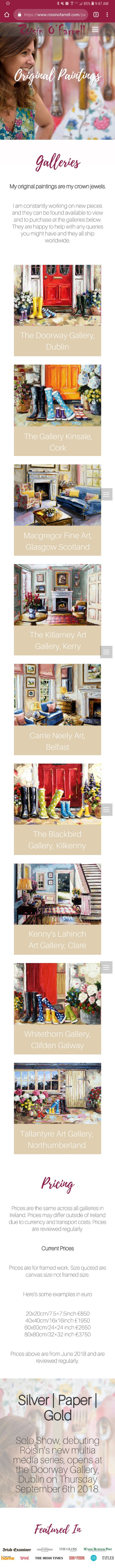 Kristen Leigh | WordPress Web Design Studio | Róisín O'Farrell Portfolio Piece | Original Paintings Page on Mobile