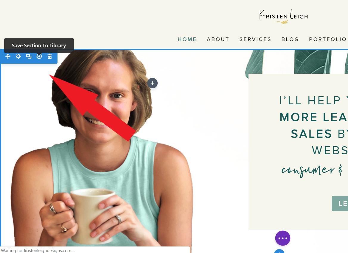 Kristen Leigh | Web Design Studio | How to Quickly Build a Divi Website | Section Menu