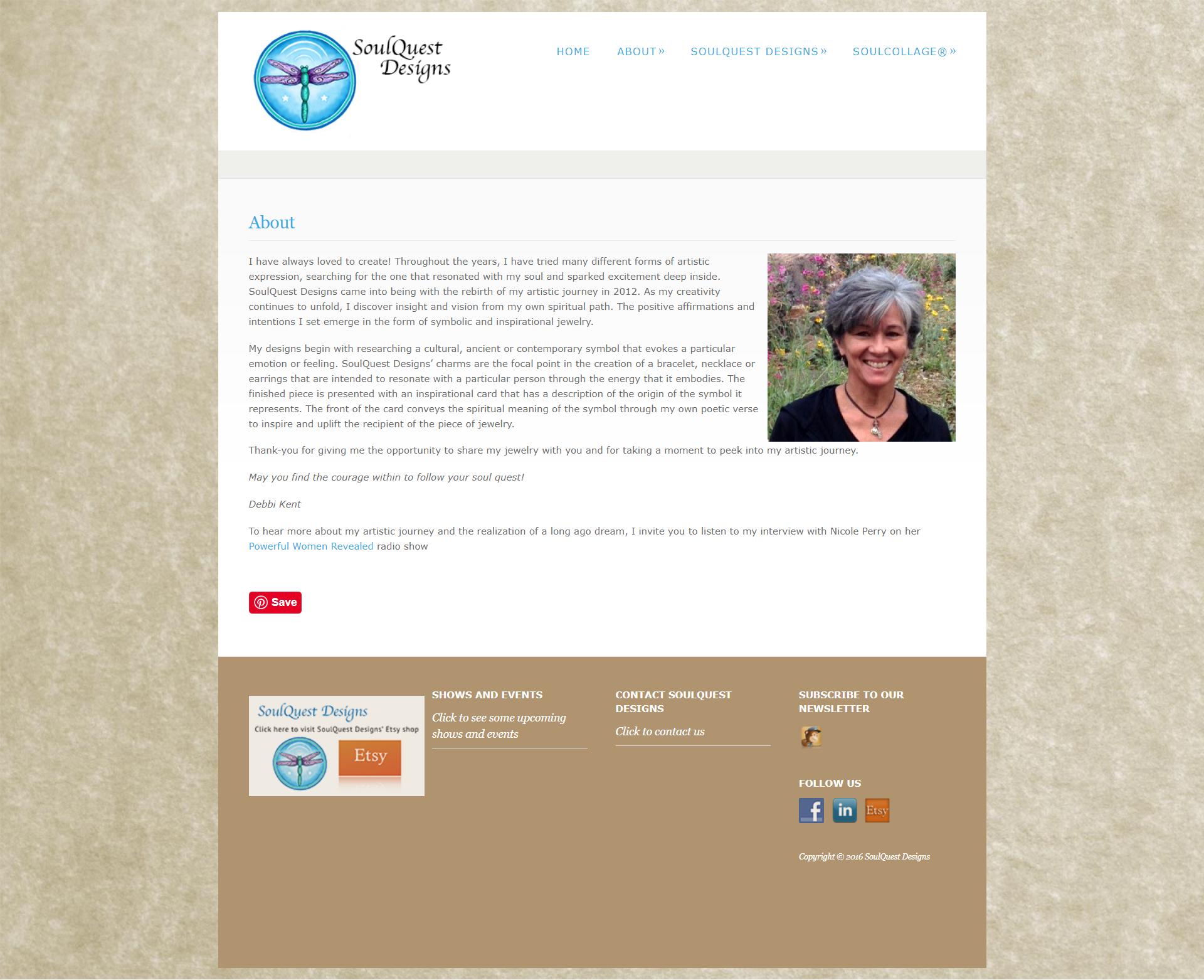 Kristen Leigh | WordPress Web Design Studio | SoulQuest Designs Portfolio Piece | About Page Before the Redesign