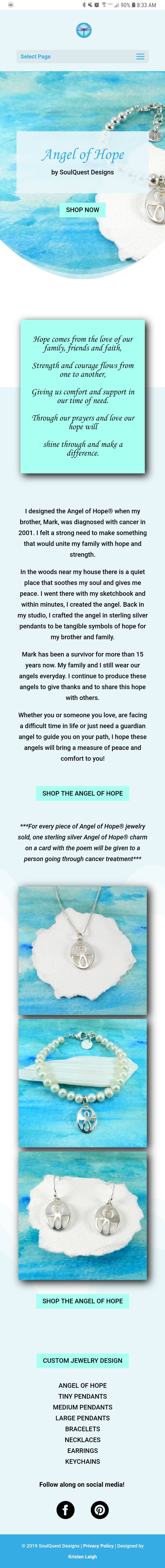 Kristen Leigh | WordPress Web Design Studio | SoulQuest Designs Portfolio Piece | Angel of Hope on Mobile