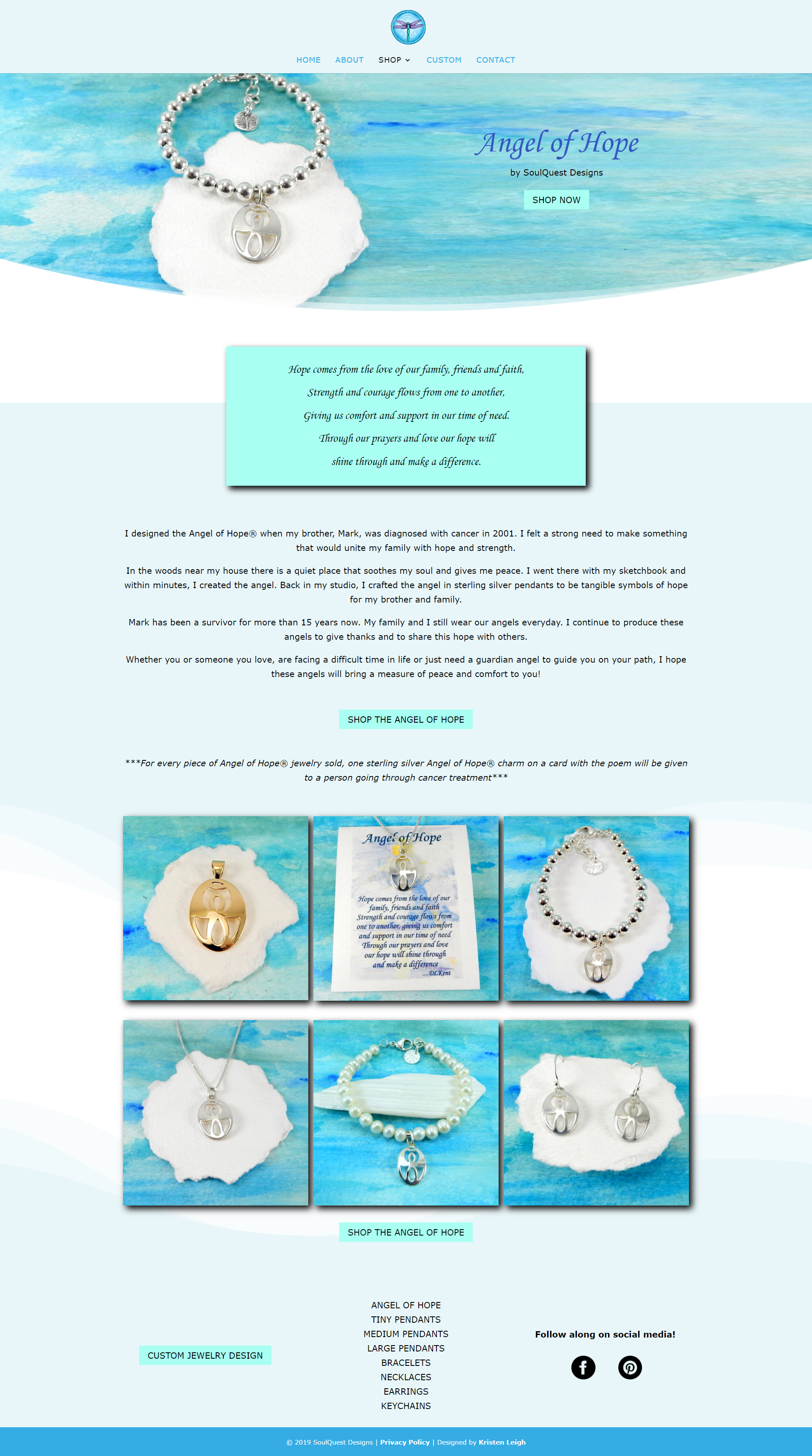 Kristen Leigh | WordPress Web Design Studio | SoulQuest Designs Portfolio Piece | Angel of Hope