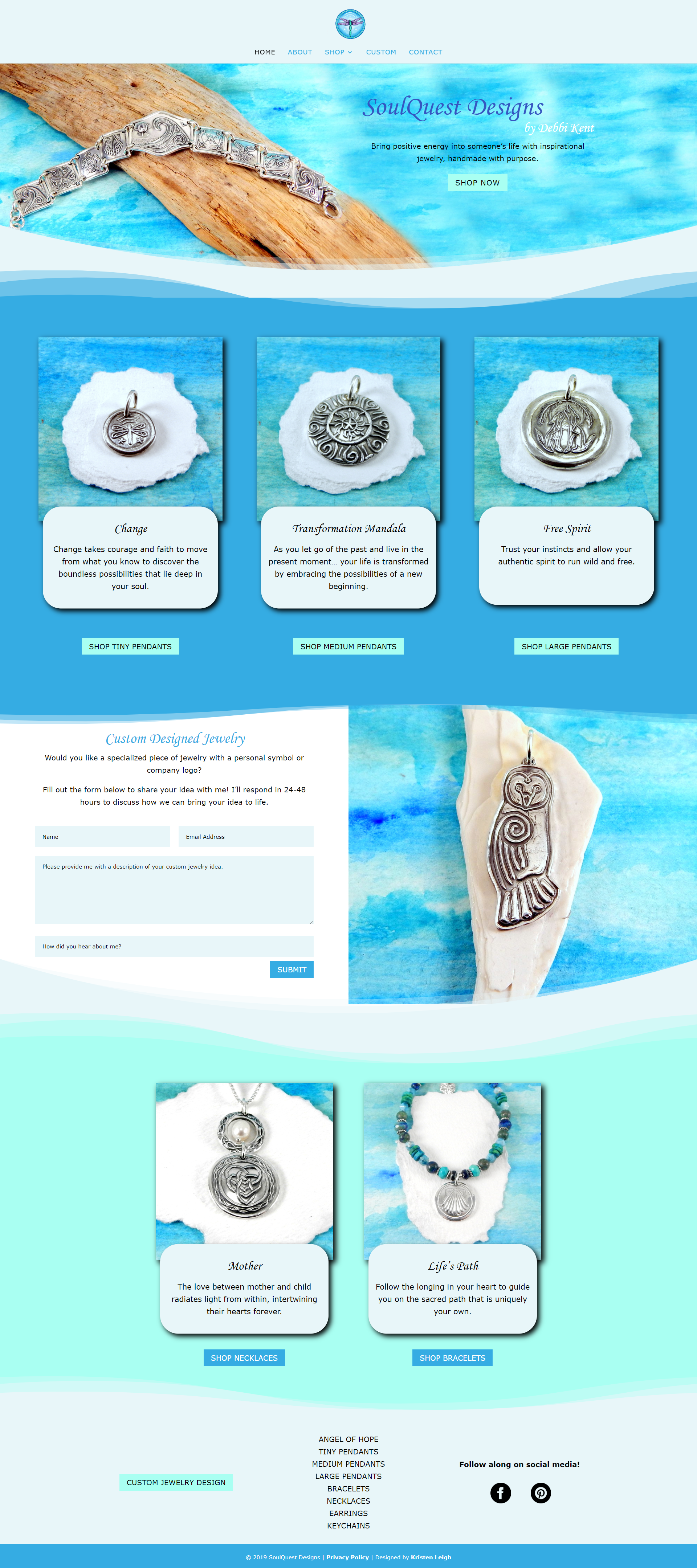 Kristen Leigh | WordPress Web Design Studio | SoulQuest Designs Portfolio Piece | Handmade Jewelry Homepage